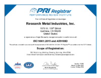 ISO 9001:2015 and AS9100D Certificate